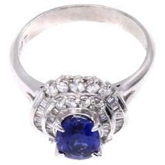 1970s Sapphire Diamond Platinum Cocktail Ring