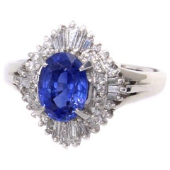 1970s Sapphire Diamond Platinum Engagement Ring