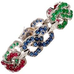 1970s Sapphire Emerald Ruby Diamond Gold Link Bracelet