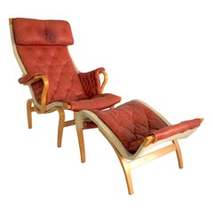 1970s Scandinavian Modern Leather, Bentwood Lounge Chair and Ottoman by Mathsson