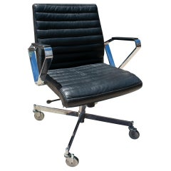 1970s Scandinavian Steel and Leather Vitesse Office Swivel Chair by Bolia