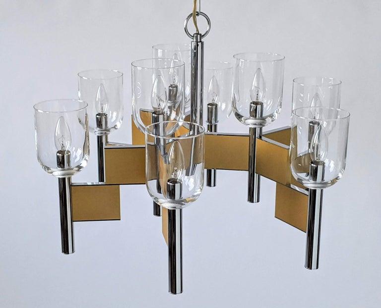 Late 20th Century 1970s Mint Sciolari 9-Arm Glass Hurricane Chandelier, Italy For Sale