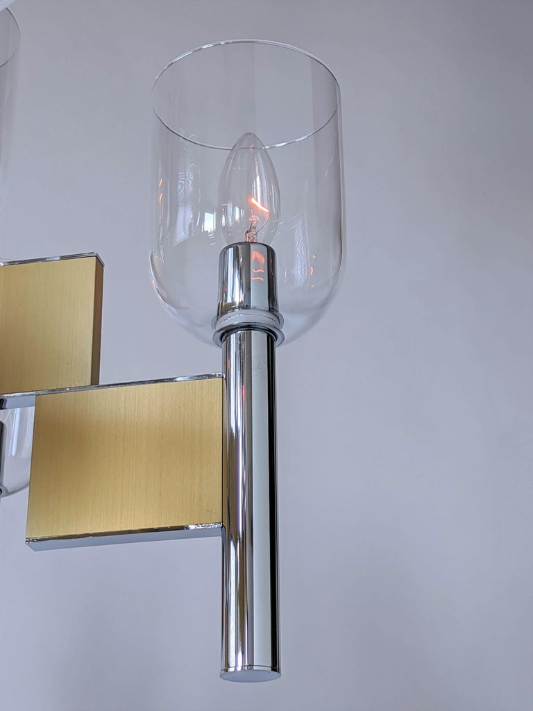 1970s Mint Sciolari 9-Arm Glass Hurricane Chandelier, Italy For Sale 2