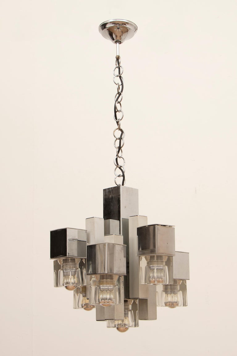 20th Century 1970s Sciolari Chrome & Glass Cubic Abstract Hanging Light Chandelier For Sale