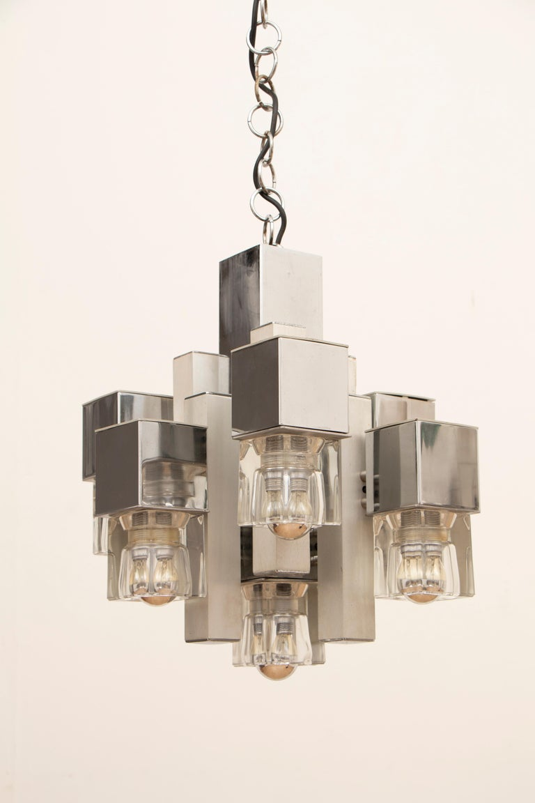 Aluminum 1970s Sciolari Chrome & Glass Cubic Abstract Hanging Light Chandelier For Sale
