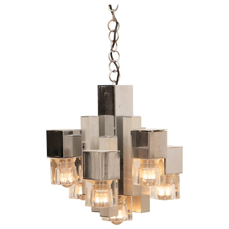 1970s Sciolari Chrome & Glass Cubic Abstract Hanging Light Chandelier For Sale