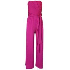 1970s Scott Barrie Multi Wrap Bodice Pink Silk Jersey Jumpsuit