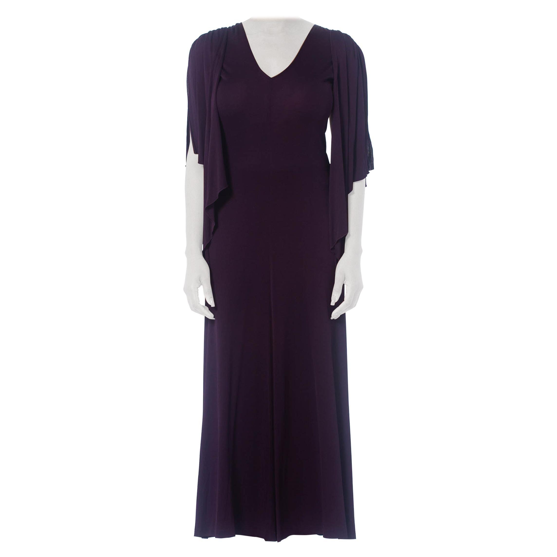 1970S SCOTT BARRIE Eggplant Purple Rayon Jersey Disco Dress