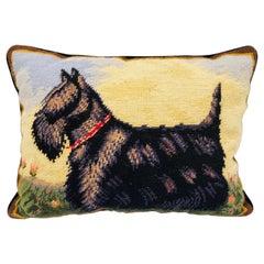1970s Scottie Terrier Needlepoint Pillow