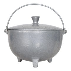 1970s Sculpted Aluminum Kettle Pot & Lid Footed Design Industrial Minalloy NYC