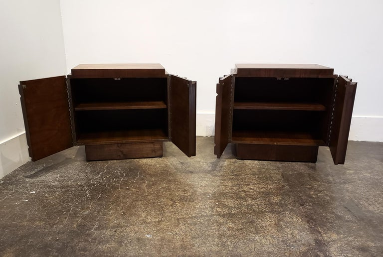 20th Century 1970s Sculpted Brutalist Walnut Nightstands, Brasilia Style For Sale