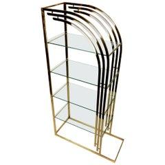 Vintage Sculptural Brass and Glass Étagère Bookcase