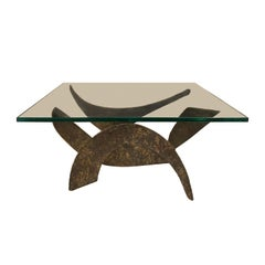 1970s Sculptural Brutalist Metal Base Coffee Table with Square Glass Top