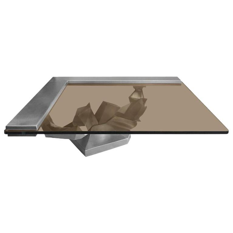 1970s Sculptural French Brushed Stainless Steel Coffee Table For Sale