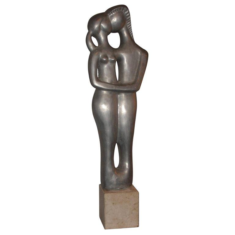 1970s Sculpture of an Embracing Couple by L. Joubert