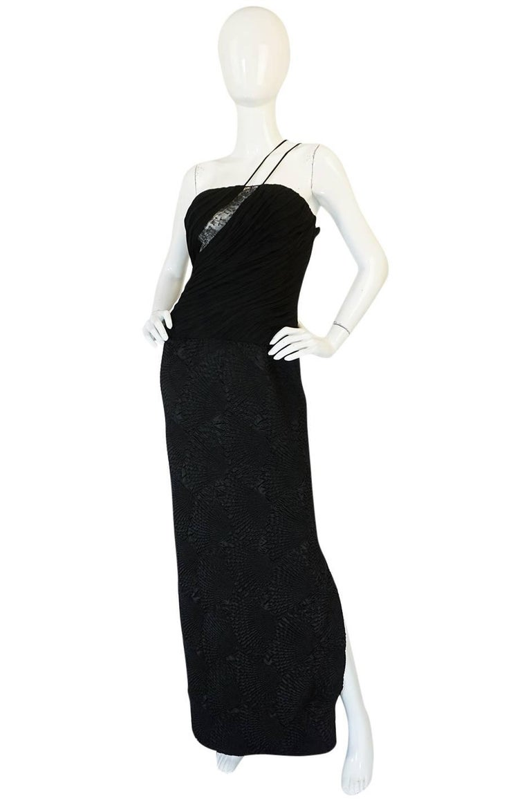 Black 1970s See-Through Lace Detail James Galanos Couture Dress For Sale