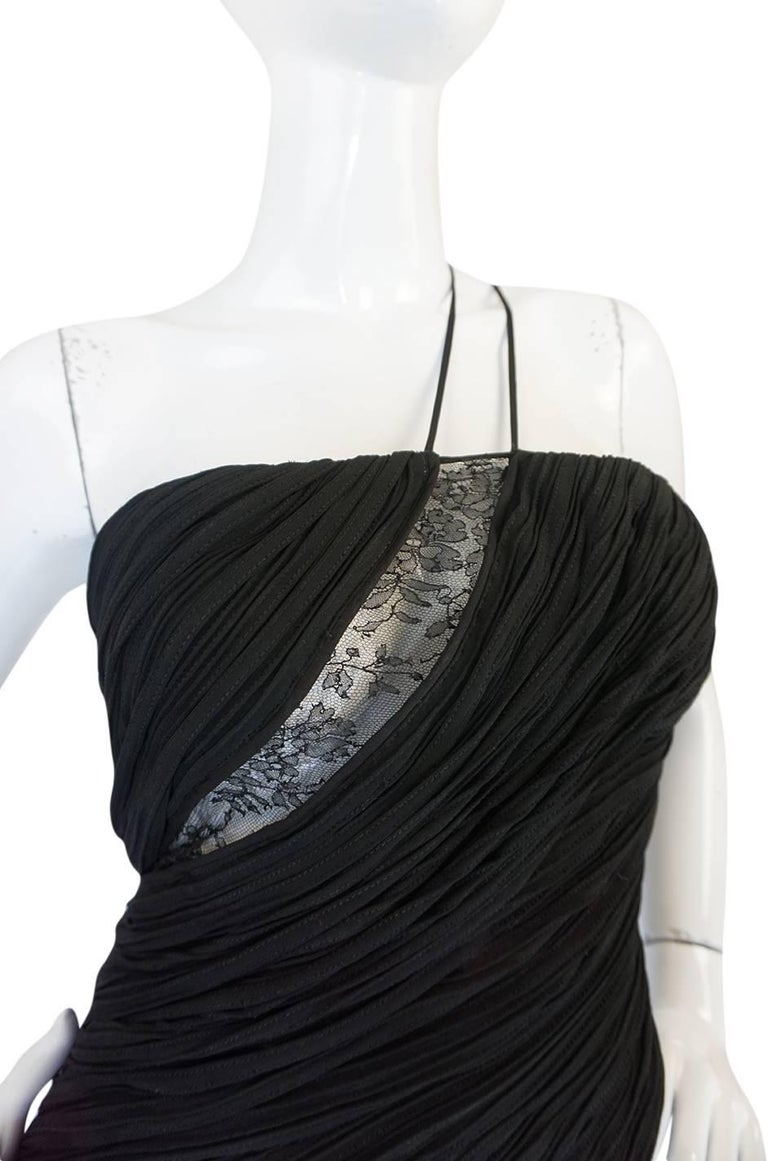 Women's 1970s See-Through Lace Detail James Galanos Couture Dress For Sale