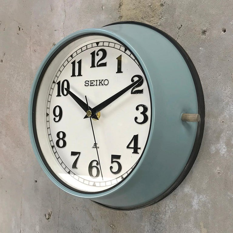 Japanese 1970s Seiko Blue White Retro Vintage Industrial Antique Steel Quartz Wall Clock  For Sale