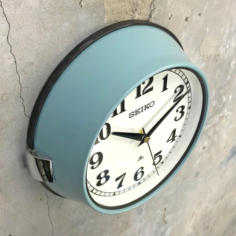 Late 20th Century 1970s Seiko Blue White Retro Vintage Industrial Antique Steel Quartz Wall Clock  For Sale