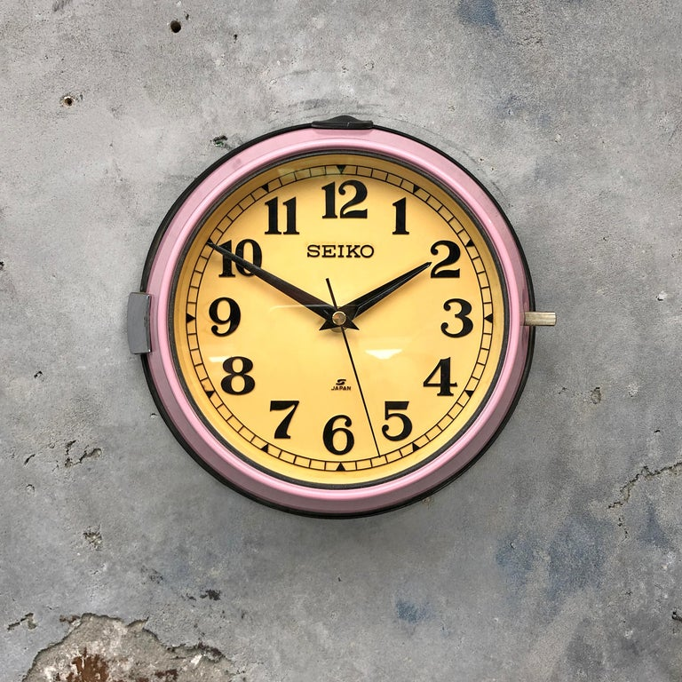 Seiko super tanker slave clock original re-finished in Millenial Pink.  A reclaimed and restored maritime slave clock.  These clocks were used in great numbers on super tankers, cargo ships and military vessels built during the 1970's and housed