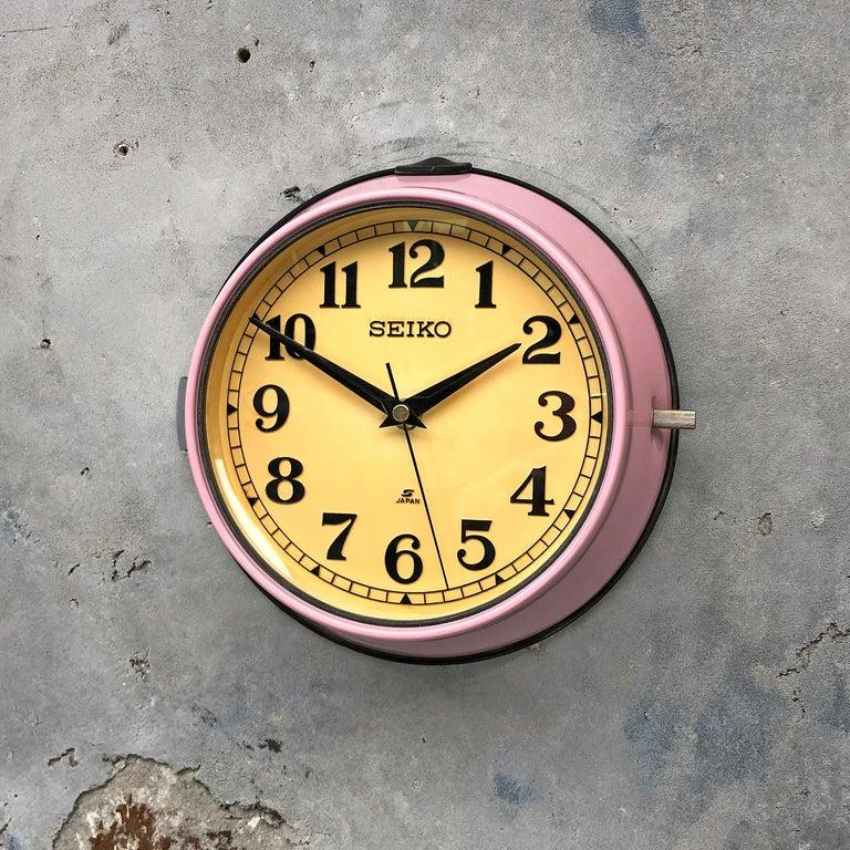 Japanese 1970s Seiko Retro Vintage Industrial Antique Steel Quartz Wall Clock, Pink For Sale