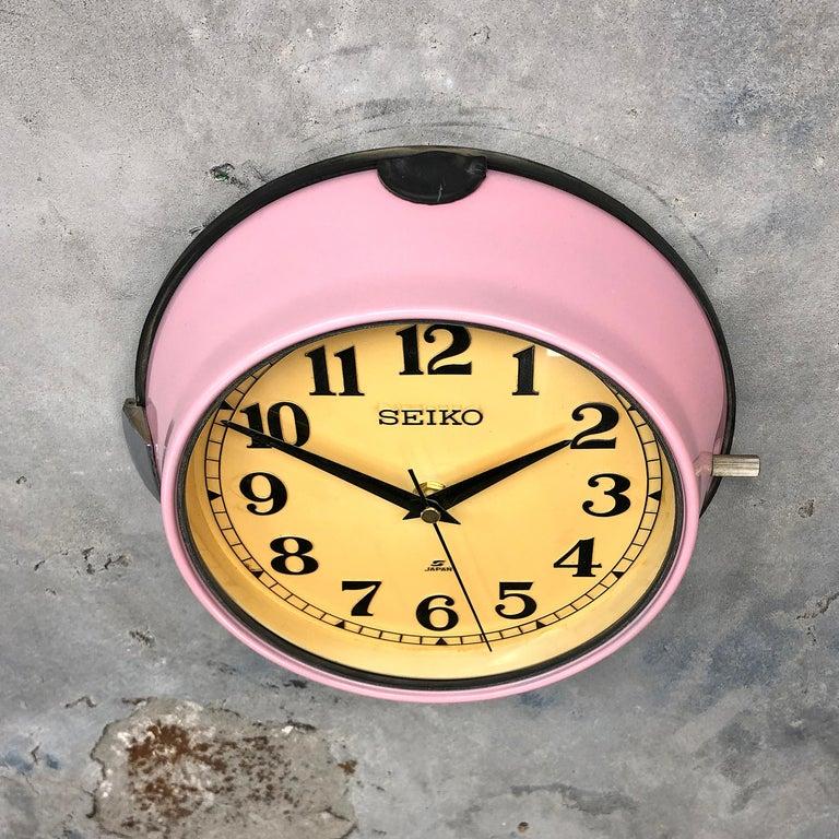 Late 20th Century 1970s Seiko Retro Vintage Industrial Antique Steel Quartz Wall Clock, Pink For Sale