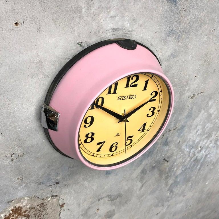 Glass 1970s Seiko Retro Vintage Industrial Antique Steel Quartz Wall Clock, Pink For Sale