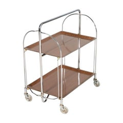 1970s Serving Cart from Germany Formica and Chrome, Clean Multifunctional Design