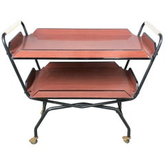 1970s Serving Tray Bar Cart Trolley in Formica and Metal Black and Red Brown