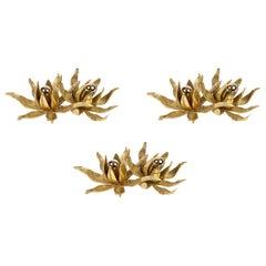 1970s Set of 3 Gilded Bronze Flower Sconces, Paul Moerenhout