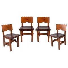 1970s Set of 4 Spanish Castillian Wood and Leather Chairs