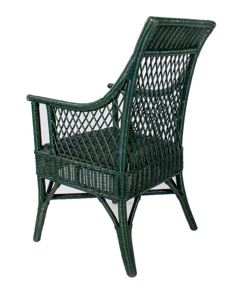 20th Century 1970s Set of 6 Spanish Woven Wicker Chairs Painted in Black For Sale