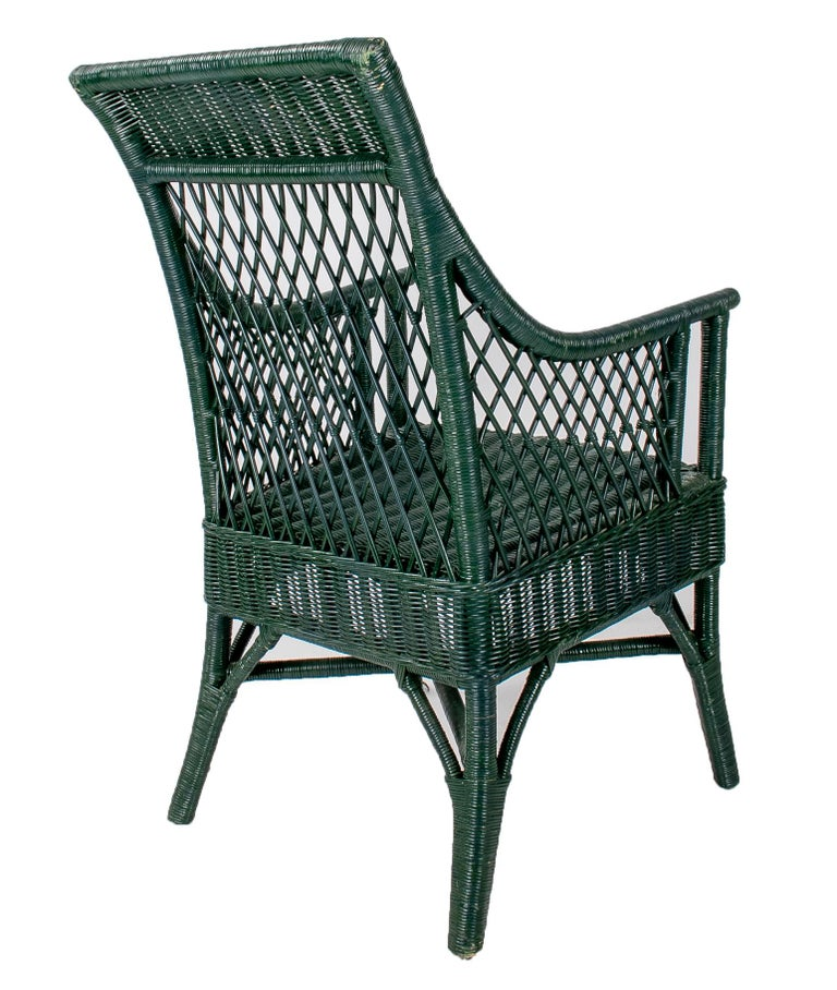 1970s Set of 6 Spanish Woven Wicker Chairs Painted in Black For Sale 1