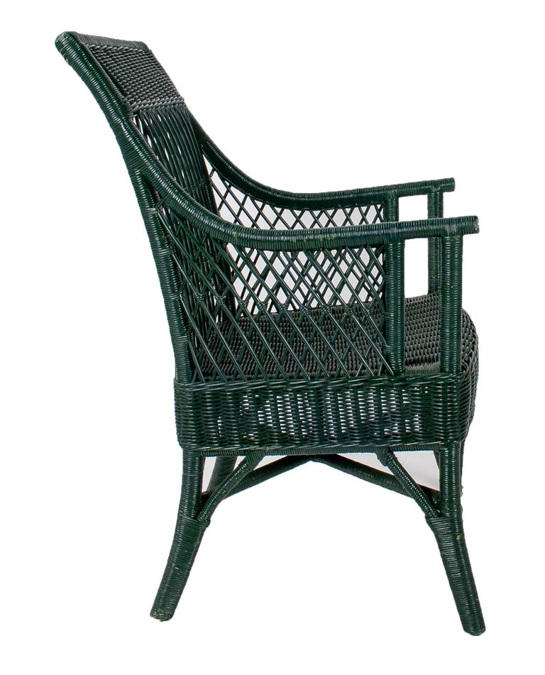 1970s Set of 6 Spanish Woven Wicker Chairs Painted in Black For Sale 2