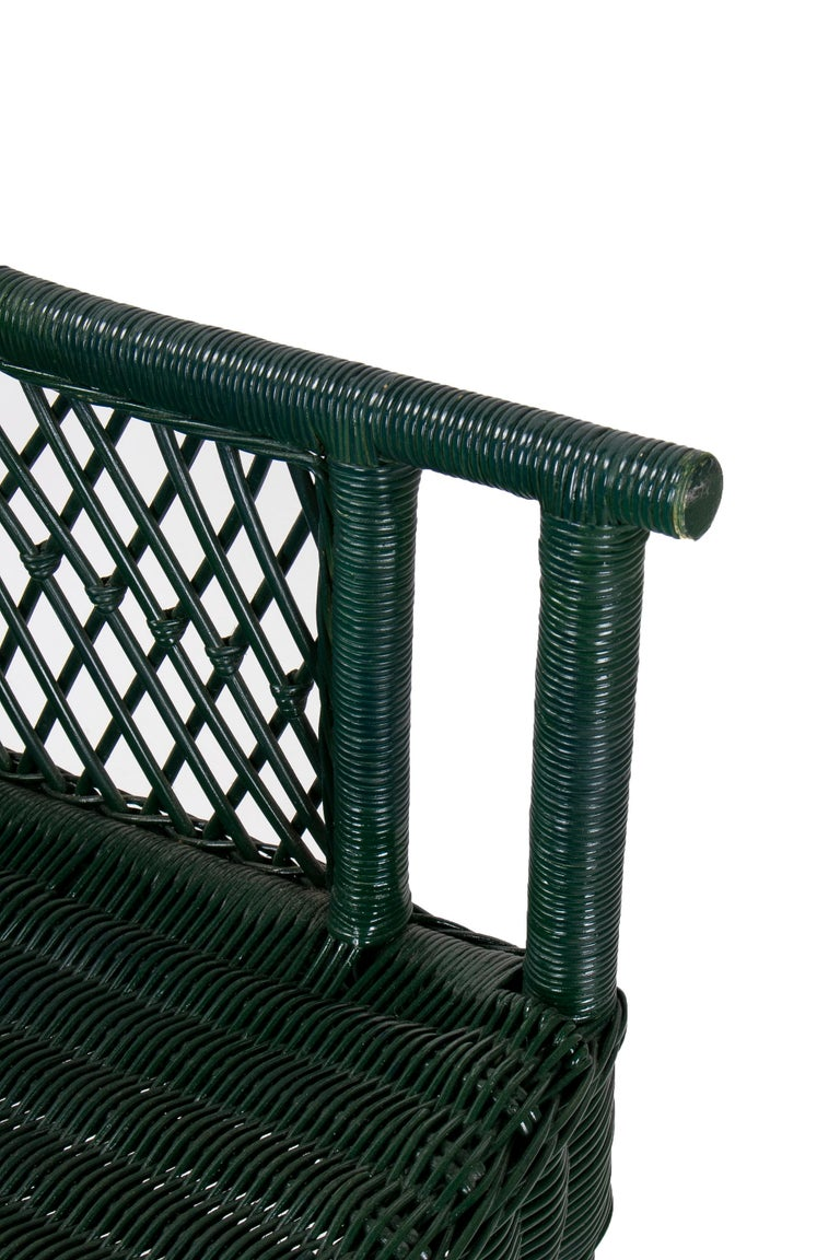1970s Set of 6 Spanish Woven Wicker Chairs Painted in Black For Sale 4