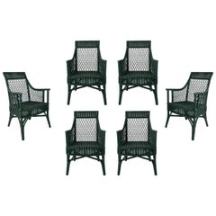 1970s Set of 6 Spanish Woven Wicker Chairs Painted in Black
