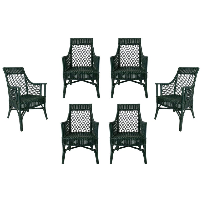 1970s Set of 6 Spanish Woven Wicker Chairs Painted in Black For Sale