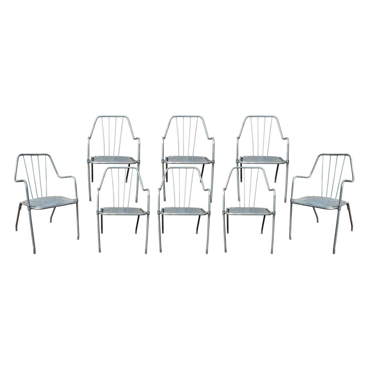 1970s Set of Eight Spanish Iron Garden Chairs in Steel Finish
