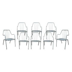 1970s Set of Eight Spanish Iron Garden Chairs in Steel Finish