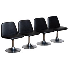 "1970s, Set of Four Black ""Vinga"" Swivel Chairs by Börje Johanson Markaryd Sweden"