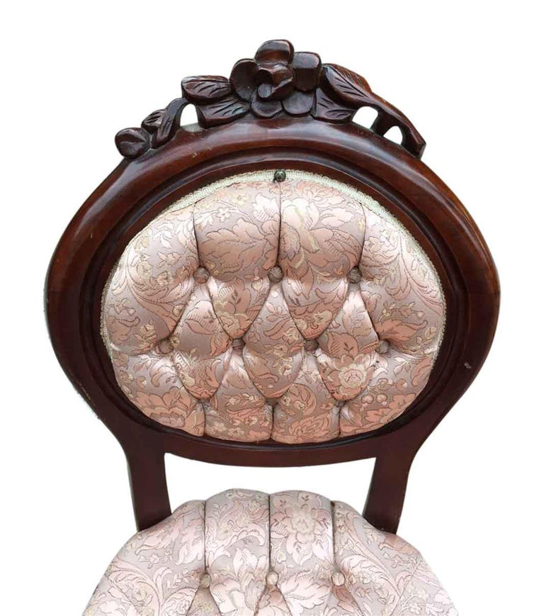 American 1970s Set of Four Carved French Dining Chairs with Tufted Pink Silk Upholstery For Sale