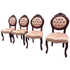 1970s Set of Four Carved French Dining Chairs with Tufted Pink Silk Upholstery