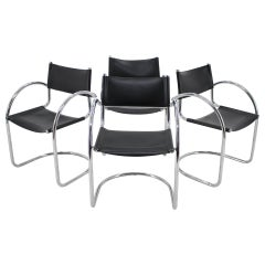 1970s Set of Four Chrome and Leather Tubular Chairs, Czechoslovakia