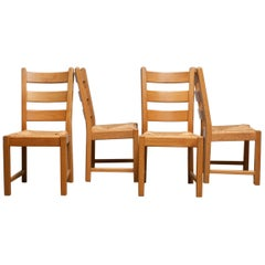 1970s, Set of Four Dutch Oak Ladder Back Dining Chairs with Wicker Seat