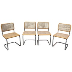 "1970s Set of Four Marcel Breuer Cane and Wicker Chrome ""Cesca"" Chairs"