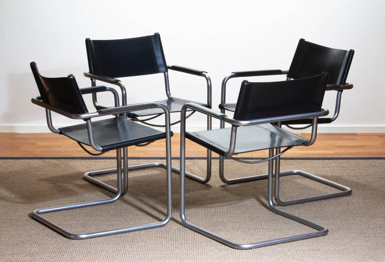 1970s, Set of Four MG5 Black Leather Dining / Office Chairs by Matteo Grassi 3