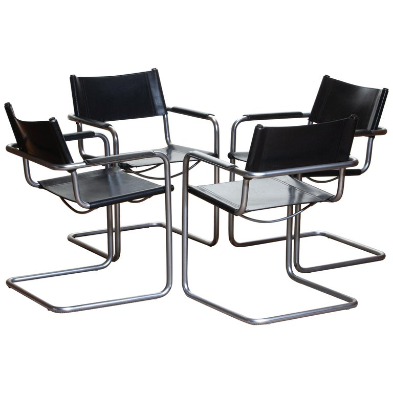 1970, perfect set of four dining / office chairs made by Matteo Grassi, Italy.