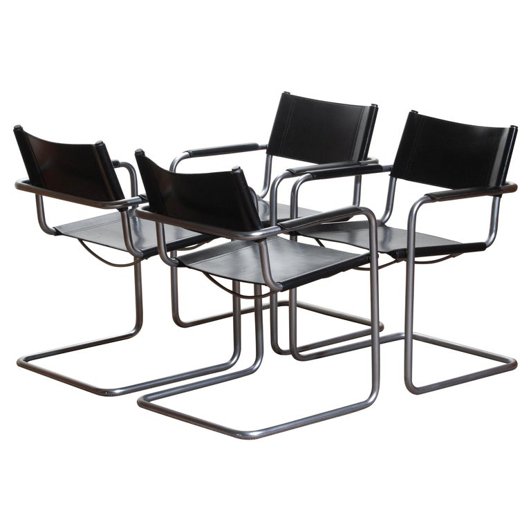 Mid-Century Modern 1970s, Set of Four MG5 Black Leather Dining / Office Chairs by Matteo Grassi