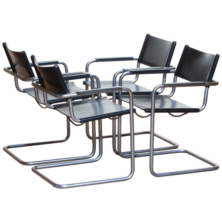 Italian 1970s, Set of Four MG5 Black Leather Dining / Office Chairs by Matteo Grassi
