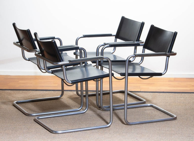 Steel 1970s, Set of Four MG5 Black Leather Dining / Office Chairs by Matteo Grassi
